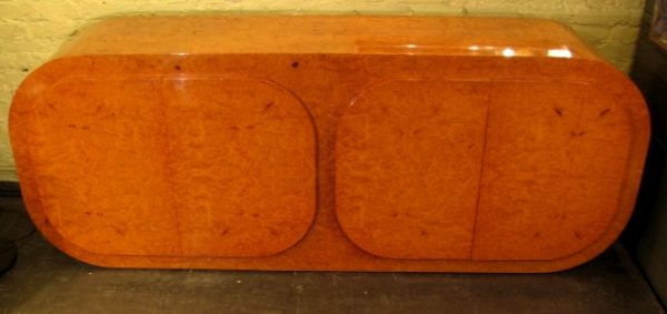 1970s Round Edged Burlwood Cabinet by Paul Evans