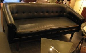 1960's Black Rolled Arm 3 Seat Sofa