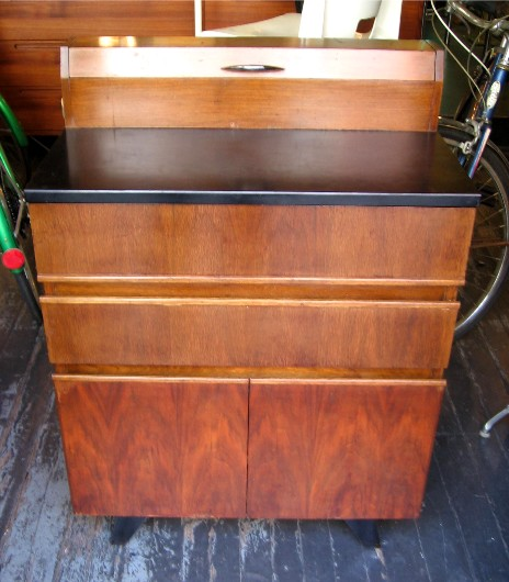 1940s Small Walnut Medical Cabinet