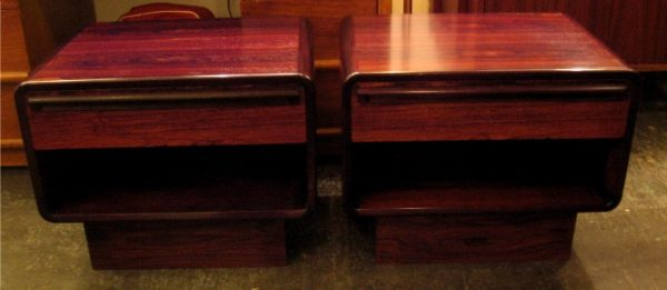 Brazilian Rosewood Night-Stands/Side Tables Pair