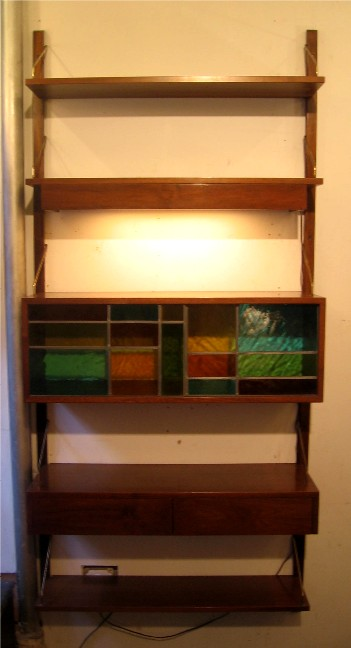 1960s Lighted Wall Unit with Drawers and Cabinet