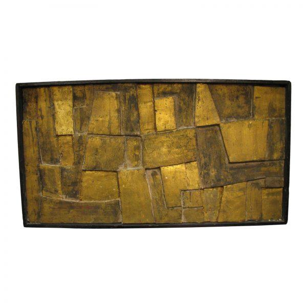 Gilded Wood & Plaster Brutalist Relief in Original Artist Frame