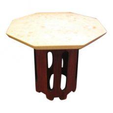 1960s Octagonal Dark Walnut and Terrazzo Occasional Table