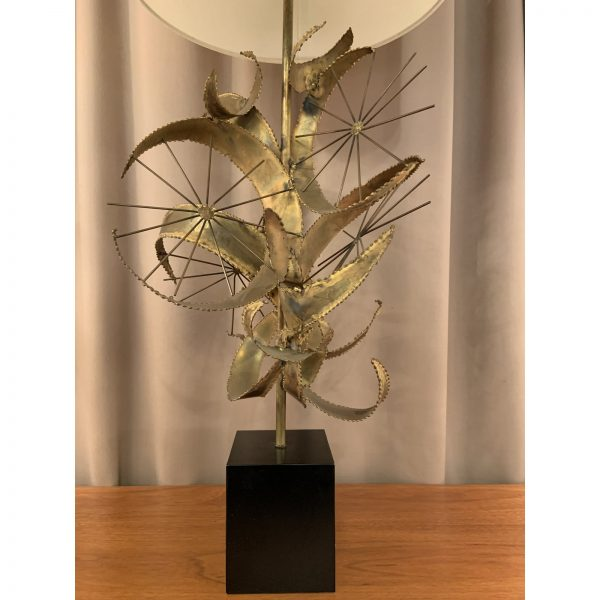 1970s Brutalist Brazed Brass Jere Table Lamp by Laurel