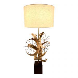 1970s Brutalist Brazed Brass Jere Table Lamp by Laurel