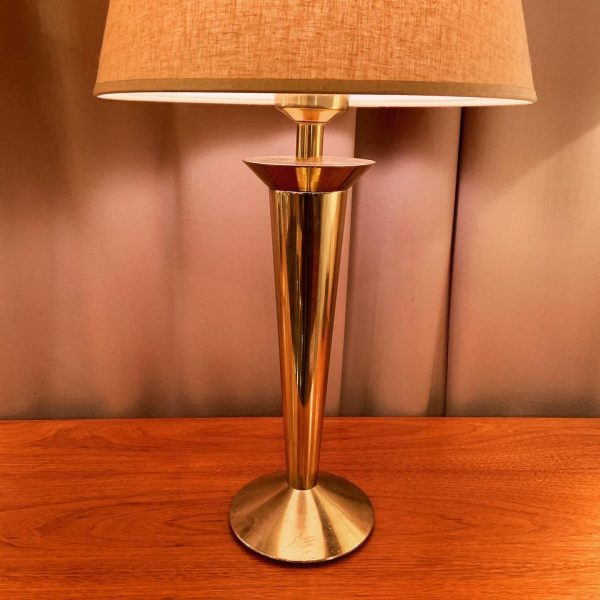 1970s Stiffel Brass Torch Form Table Lamps - a Pair