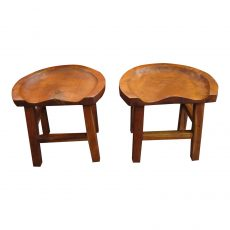 Pair of Hand Carved Primitive Teak Stools