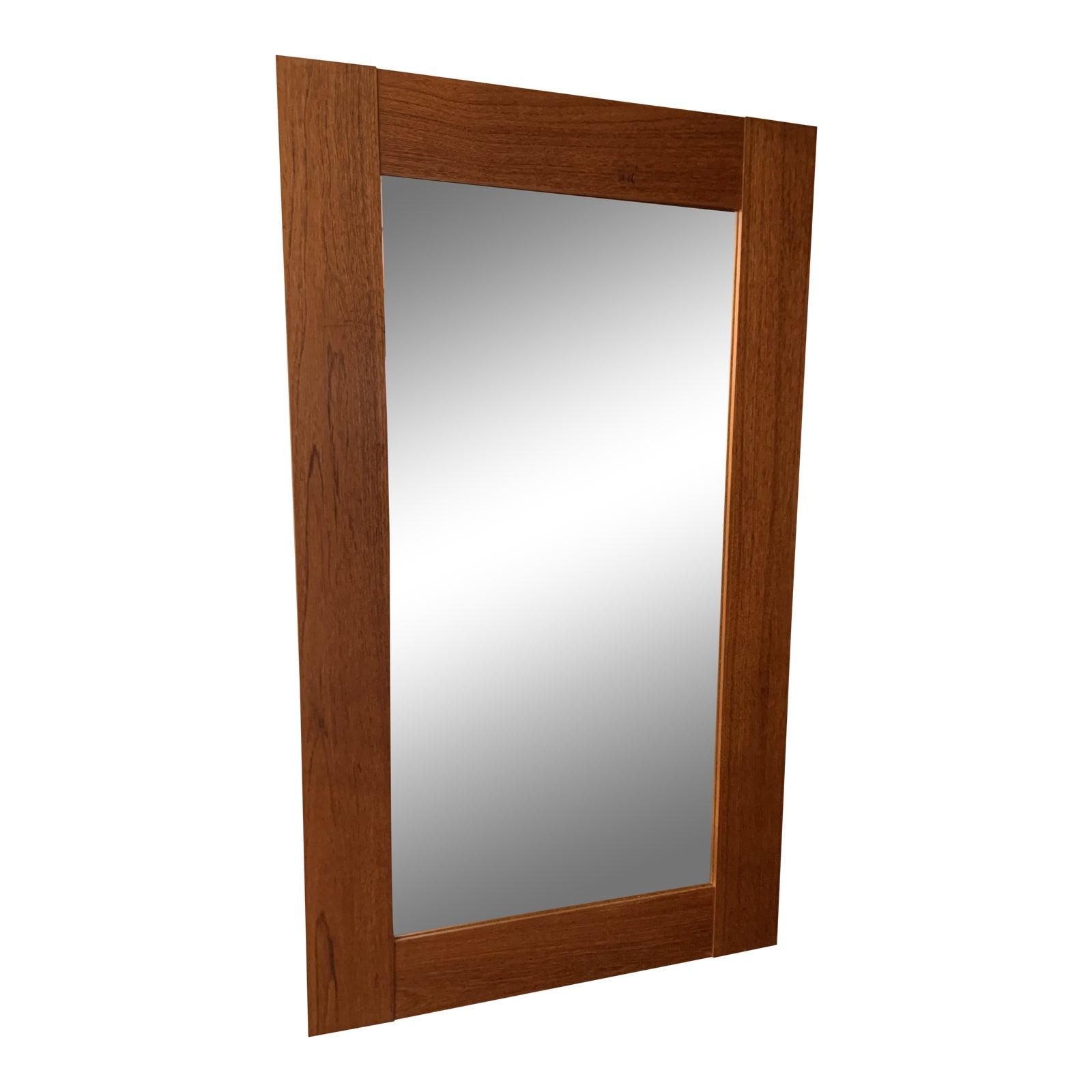 1970s Wide Framed Teak Mirror From Denmark