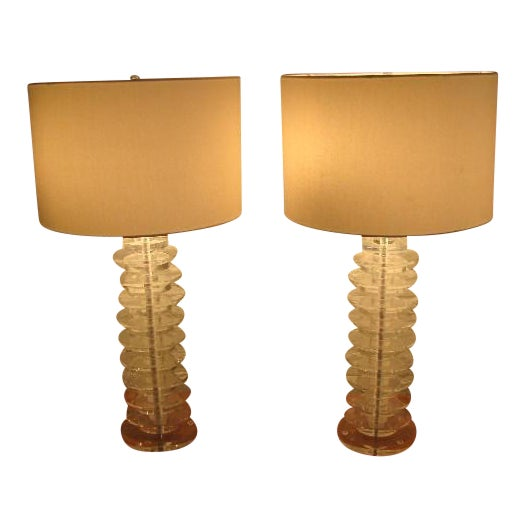 1980s Stacked Lucite Disc Lamps- a Pair