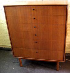 6 Drawer Tall Walnut and Mahogany Thin Edge Dresser