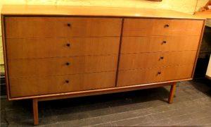 8 Drawer Long Walnut and Mahogany Dresser and Mirror