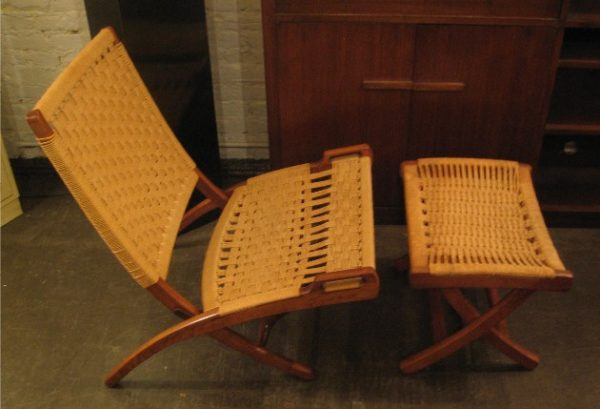 Hans Wegner Style Folding Rope Chair and Ottoman
