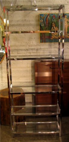 1970s Chrome and Glass Etagere
