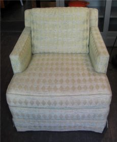 Dunbar Skirted Club Chair on Caster Wheels