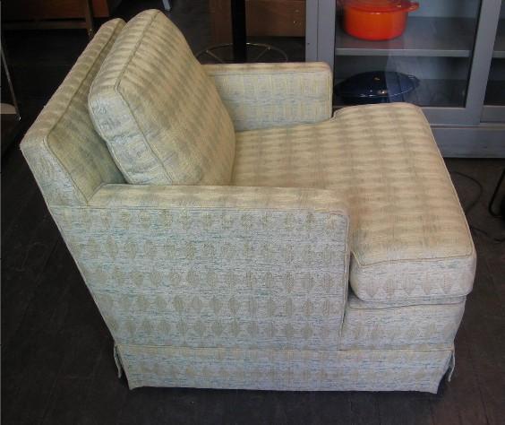 Dunbar Skirted Club Chair on Caster Wheels