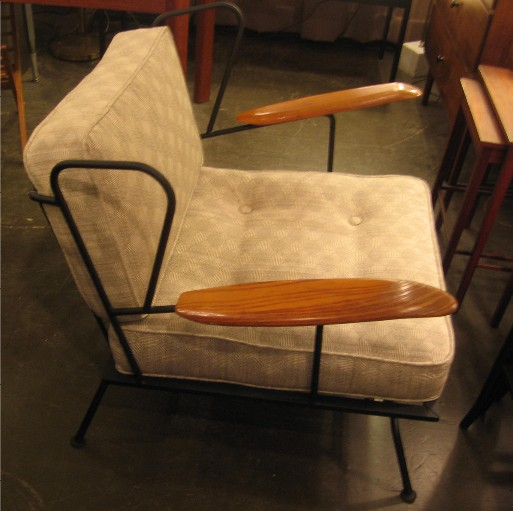 1950s Iron and Oak Wing Back Club Chair