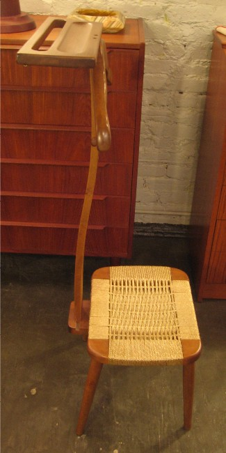 Bent Walnut Suit Valet with Rope Seat