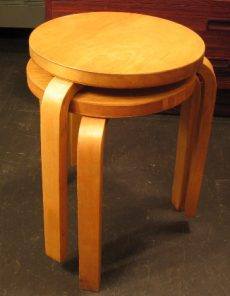 Alvar Aalto Stools for Finsven These stools by Alvar Aalto are quite old, as noted by the maker, Finsven.