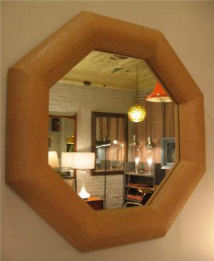 Large Octagonal Lacquered Burlap Mirror