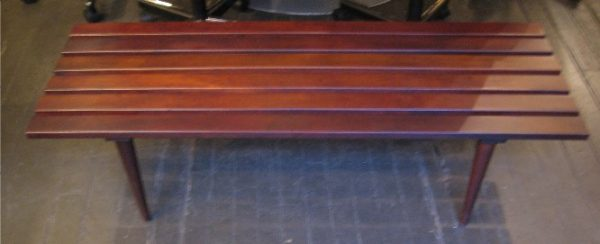 1960s Walnut Slat Bench