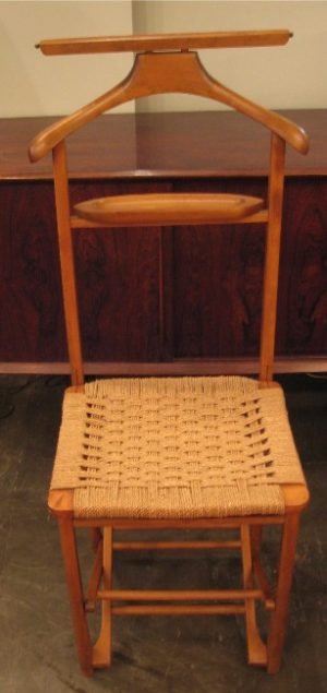Folding Italian Valet Chair with Natural Cord Seat