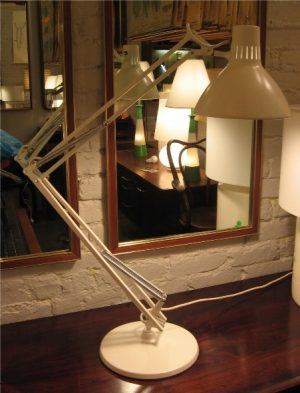 Luxo Cream Colored Two Arm Articulating Lamp
