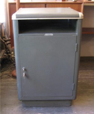 1950s Gun Metal Gray Cabinet with Safe