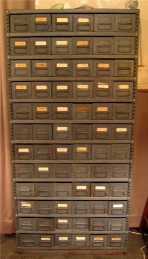 1960s 72 Drawer Gun Metal Gray Parts Cabinet / Shelf