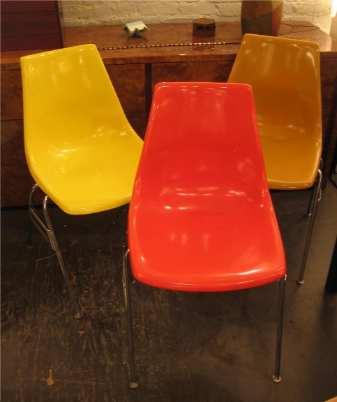 1970s Fiberglass Stacking Chairs by Krueger