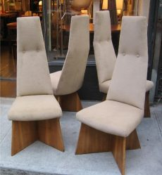Adrian Pearsall High Back Dining Chairs on Cruciform Base
