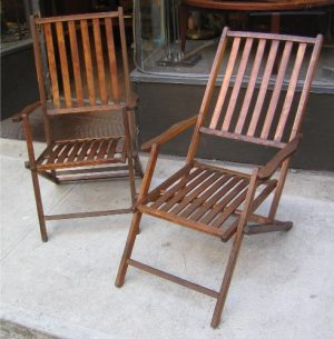 1940s Wood-Slat Adjustable Folding Lounge Chairs