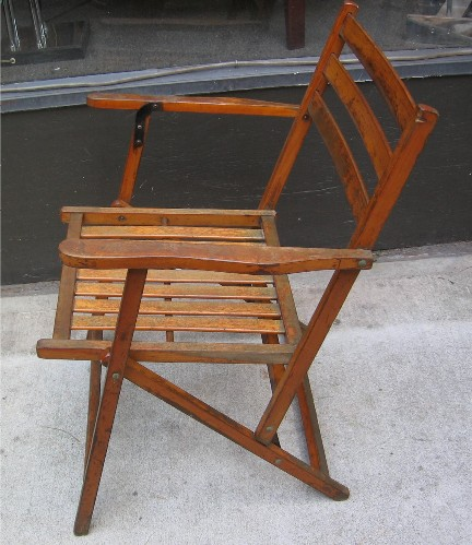 1950s Folding Slat Wood Chair