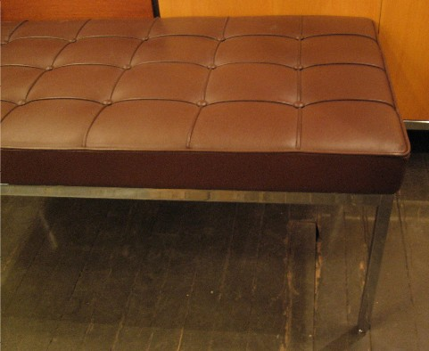 Florence Knoll Chrome & Leather Two Seat Bench