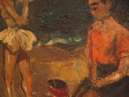 Framed 1960s Oil Modernist Painting Children On Beach