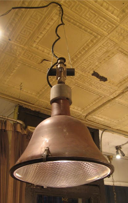 Large Copper Industrial Pendant Lamp with Lens