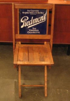 1940's Piedmont Tobacco Porcelain-Back Folding Chair
