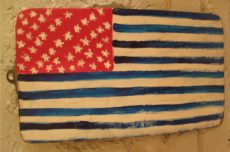 Folk Art Painted American Flag