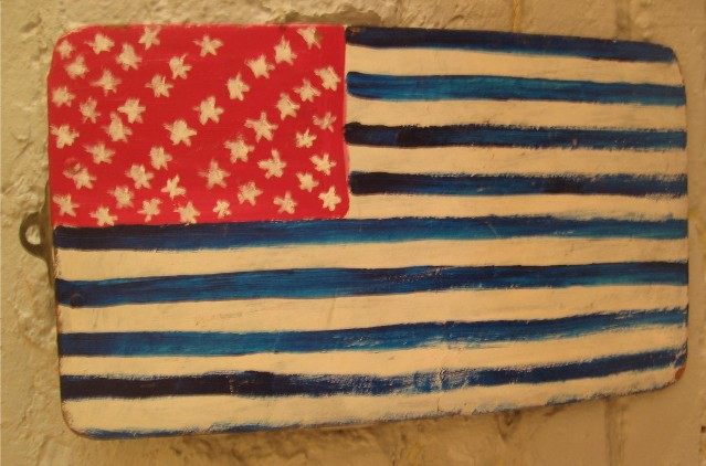 Folk Art Painted American Flag