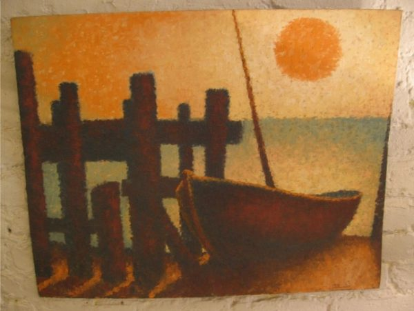 Impressionist Painting of Skiff on Beach