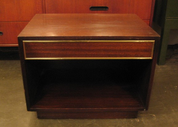 Harvey Probber Mahogany and Brass Bed Side Table