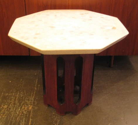 Harvey Probber 1960s Octagonal Dark Walnut and Terrazzo Occasional Table