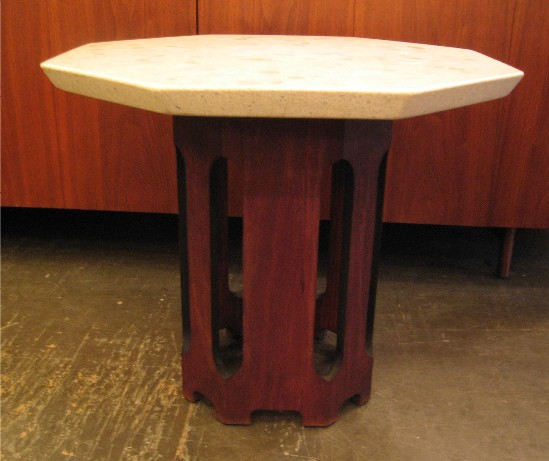 1960s Octagonal Dark Walnut and Terrazzo Occasional Table