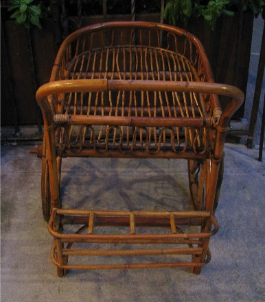 French Riviera Rattan Bar Cart from the 1950s