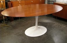 Saarinen Walnut Top Oval Tulip Dining Table from Knoll