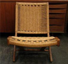 Folding Walnut Rope Chair