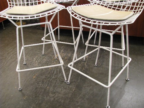 Bertoia Wire Counter Stools w Pads in White by Knoll