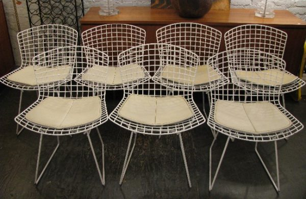 Bertoia Wire Side Chairs w Seat Pads in White by Knoll
