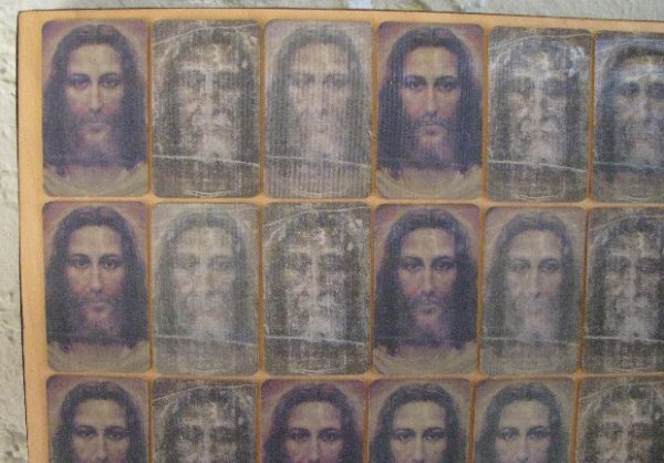 Outsider Art of Mounted Holographic Jesus Cards