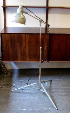 1950s Painted Metal Adjustable Industrial Floor Lamp
