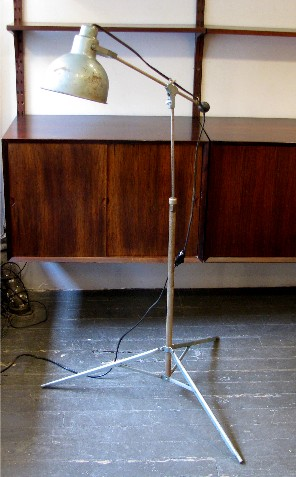 1950s Painted Metal Adjustable Industrial Floor Lamp